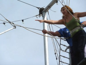 Lucy leaning out for the Trapeze