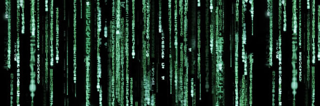 Image of the cascading characters from The Matrix movie