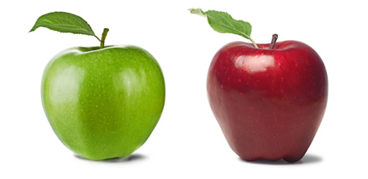 Image of two apples - a green and a red one