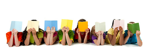 Image of children all reading books