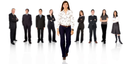 Woman standing out from other people