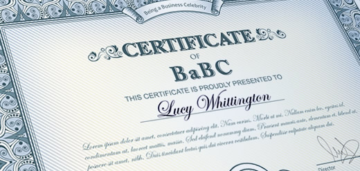 Lucy Whittington Certificate of BaBC