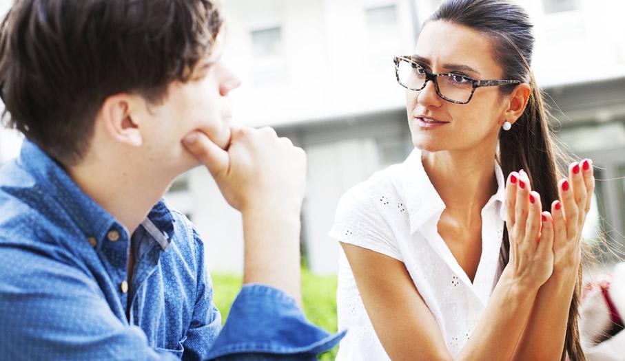 A conversation explaining a point