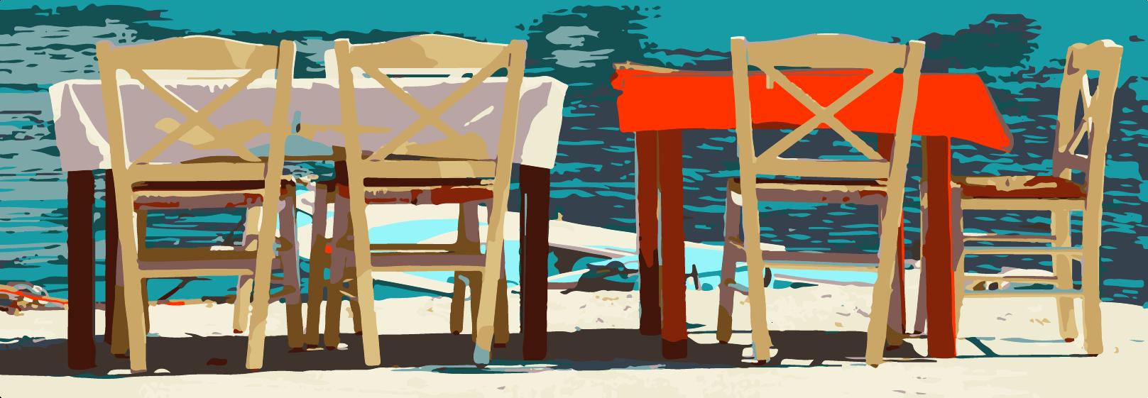 Restaurant tables on the beach