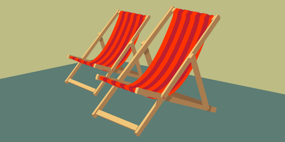 2 red deck chairs